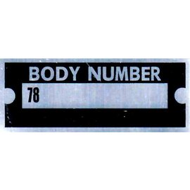 "Affordable Street Rods B8 Vin Tag - Body Number ""78"""
