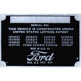 Affordable Street Rods C2 Vin Tag - Ford (1 Line)