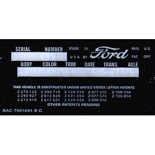 Affordable Street Rods C3 Vin Tag - Ford (2 Lines)