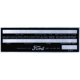 Affordable Street Rods C5 Vin Tag - Ford (3 Lines)