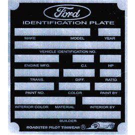 Affordable Street Rods C7 Vin Tag - Ford ID Plate