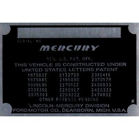 Affordable Street Rods C9 Vin Tag - Mercury (1 Line)