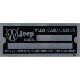 Affordable Street Rods D5 Vin Tag - Willys Jeep (2 Lines)