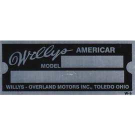 Affordable Street Rods D6 Vin Tag - Willy Americar (2 Lines)