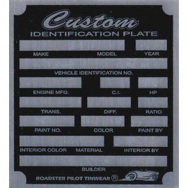 Affordable Street Rods F7 Vin Tag - Custom ID Plate