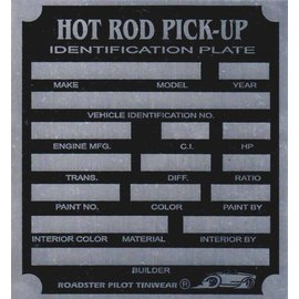Affordable Street Rods F8 Vin Tag - Hot Rod Pickup ID Plate
