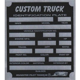 Affordable Street Rods F9 Vin Tag - Custom Truck ID Plate