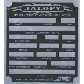 Affordable Street Rods G1 Vin Tag - Jalopy ID Plate