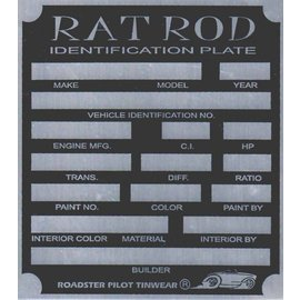 Affordable Street Rods G2 Vin Tag - Rat Rod ID Plate