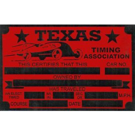 Affordable Street Rods G8 Vin Tag - Texas Timing Association