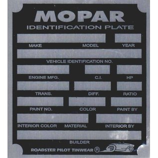 Affordable Street Rods H1 Vin Tag - Mopar ID Plate