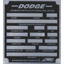 Affordable Street Rods H2 Vin Tag - Dodge ID Plate
