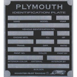 Affordable Street Rods H3 Vin Tag - Plymouth ID Plate