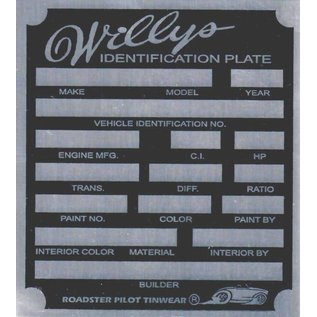 Affordable Street Rods H4 Vin Tag - Willys ID Plate