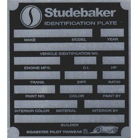 Affordable Street Rods H5 Vin Tag - Studebaker ID Plate