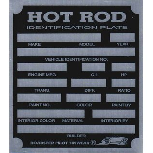 Affordable Street Rods H7 Vin Tag - Hot Rod ID Plate