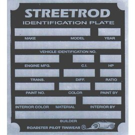 Affordable Street Rods H8 Vin Tag - Streetrod ID Plate