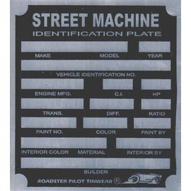 Affordable Street Rods H9 Vin Tag - Street Machine ID Plate