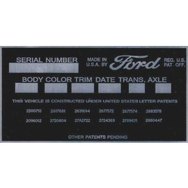 Affordable Street Rods I4 Vin Tag - Ford (7 Lines)