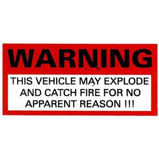 Affordable Street Rods F5 Vin Tag - Warning This Vehicle May Explode Magnet