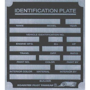 Affordable Street Rods H6 Vin Tag - Generic ID Plate