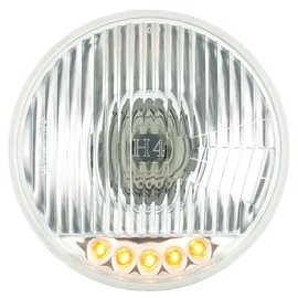 "United Pacific 5 3/4"" Halogen Headlight with 5 Amber LED Auxiliary Light - #S2005LED"