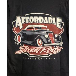 Affordable Street Rods RP 02B - ASR Original Logo w/Large Pinstripe Front - Ladies V-Neck