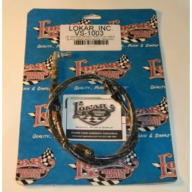 "Lokar Cloth Covered Throttle Cable - 24"" - Black With White Tracer - VS-1003"