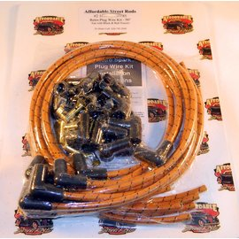 Affordable Street Rods Cloth Covered Retro 90° Plug Wire Kit - Tan With Black & Red Tracers