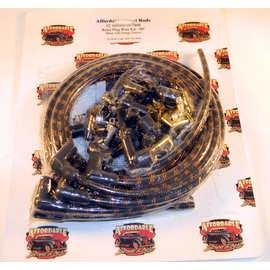 Affordable Street Rods Cloth Covered Retro 90° Plug Wire Kit - Black With Orange Tracers