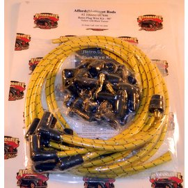 Affordable Street Rods Cloth Covered Retro 90° Plug Wire Kit - Yellow With Black Tracers