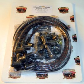 affordable street rods cloth covered retro 90° plug wire kit - black with  red tracers