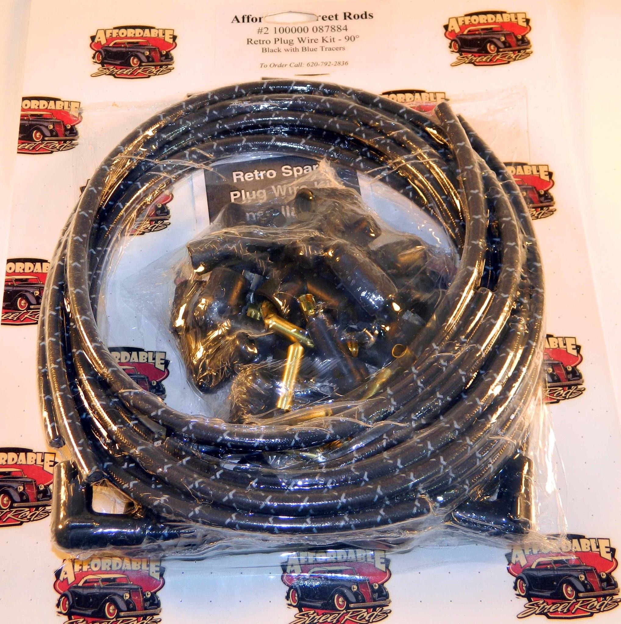 retro 90� plug wire kit black w blue tracers  x 6ft vintage hot rod wire loom