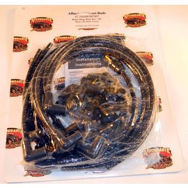 Affordable Street Rods Cloth Covered Retro 90° Plug Wire Kit - Black With White Tracers