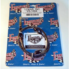 "Lokar Cloth Covered Throttle Cable - 24"" - Black With Blue Tracer - VS-1004"