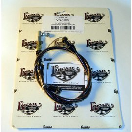 """Lokar Cloth Covered Throttle Cable - 24"""" - Black With Red Tracer - VS-1005"""
