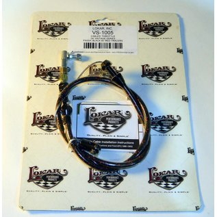 "Lokar Cloth Covered Throttle Cable - 24"" - Black With Red Tracer - VS-1005"