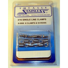 "Totally Stainless 3/16"" Stainless Single Line Clamps"