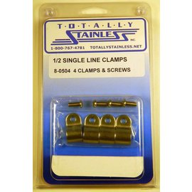 "Totally Stainless 1/2"" Stainless Single Line Clamps"