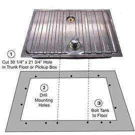 Tanks Inc. 64-68 Universal Mustang Coated Steel Gas Tank w/ Hose