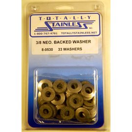 "Totally Stainless 3/8"" Stainless Neoprene Backed Flat Washers"