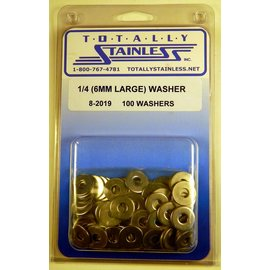 Totally Stainless 1/4 (6mm) Stainless Large Flat Washers