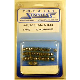 Totally Stainless 6-32, 8-32, 10-24, 12-24 Acorn Nuts - Panel 3 - #8-4040