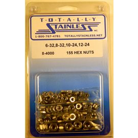 Totally Stainless 6-32, 8-32, 10-24 & 12-24 Stainless Hex Nuts