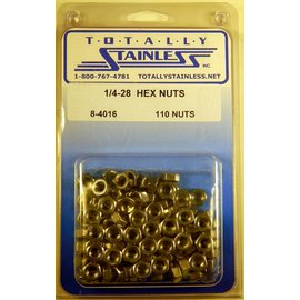 Totally Stainless 1/4-28 Hex Nuts - Panel 4 - #8-4016