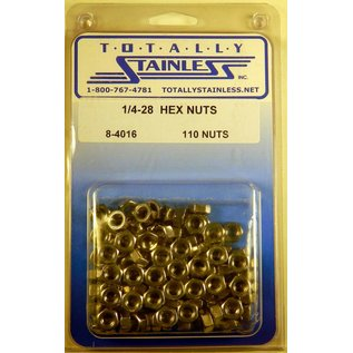 Totally Stainless 1/4-28 Stainless Hex Nuts