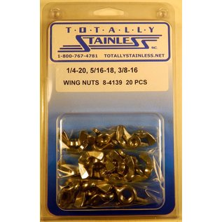 Totally Stainless 1/4-20, 5/16-18 & 3/8-16 Stainless Wing Nuts