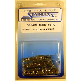 Totally Stainless 8-32, 10-24 & 1/4-20 Stainless Square Nuts