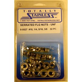 Totally Stainless 1/4 - 3/8 Stainless Serrated Flange Nuts Fine Thread