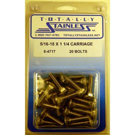 Totally Stainless 5/16-18 x 1 1/4 Stainless Carriage Head Bolts